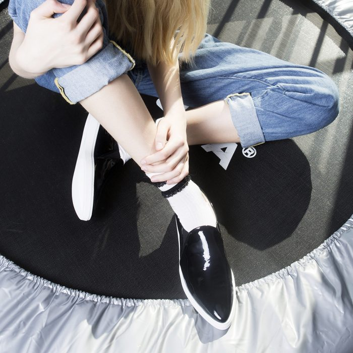 spitz slip on black patent