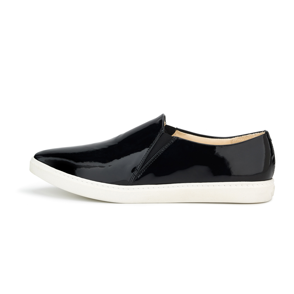 spitz slip on black patent side