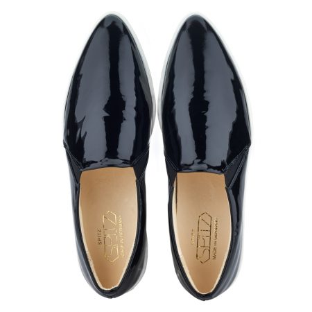 spitz slip on black patent top