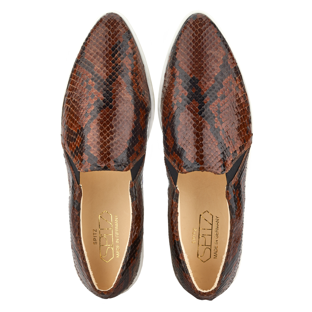 spitz slip on brown phyton top